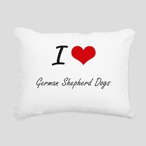 I love German Shepherd D Rectangular Canvas Pillow