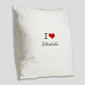 I love Goldendoodles Burlap Throw Pillow