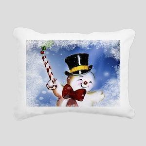 Cute dancing Snowman Rectangular Canvas Pillow
