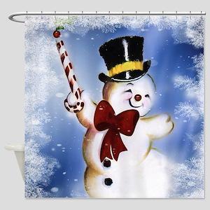 Cute dancing Snowman Shower Curtain