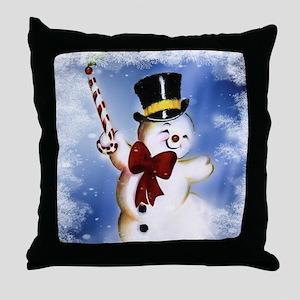 Cute dancing Snowman Throw Pillow