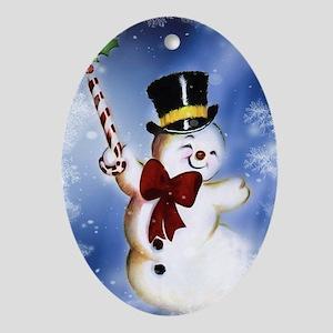 Cute dancing Snowman Oval Ornament