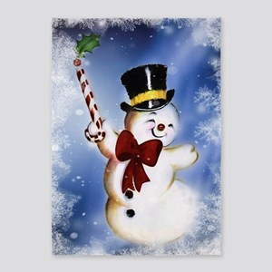 Cute dancing Snowman 5'x7'Area Rug