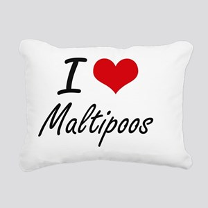 I love Maltipoos Rectangular Canvas Pillow