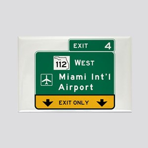 Miami Intl Airport, FL Road Sign, Rectangle Magnet