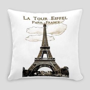 Eiffel Tower-Paris-France-1-Sepia Everyday Pillow