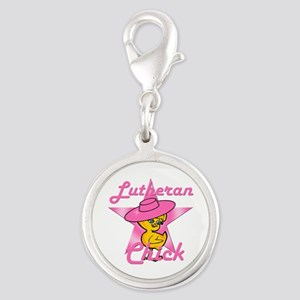 Lutheran Chick #8 Silver Round Charm