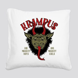 Krampus Face Naughty Square Canvas Pillow