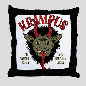 Krampus Face Naughty Throw Pillow