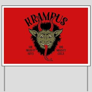 Krampus Face Naughty Yard Sign