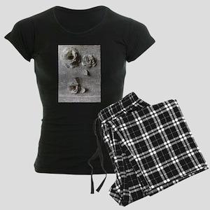 Paper Rose 3D Artwork Print Women's Dark Pajamas
