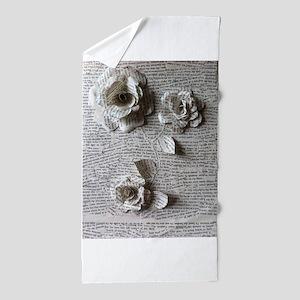 Paper Rose 3D Artwork Print Beach Towel