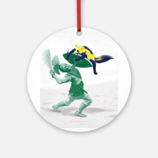 Hoplite vs. Wolverine Round Ornament