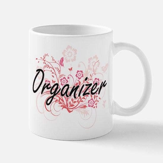 Organizer Artistic Job Design with Flowers Mugs