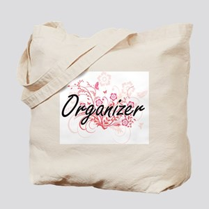 Organizer Artistic Job Design with Flower Tote Bag