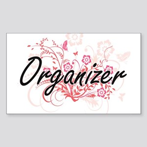 Organizer Artistic Job Design with Flowers Sticker