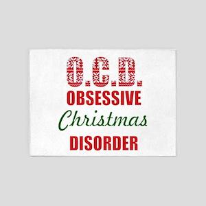 obsessive christmas disorder OCD 5'x7'Area Rug