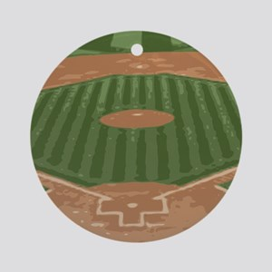 View From Home Plate Baseball Diamond Art Round Or