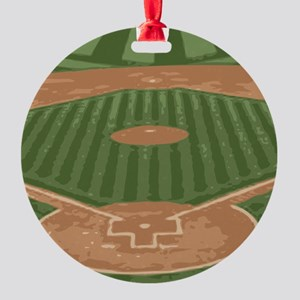 View From Home Plate Baseball Diamond Art Ornament