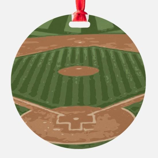 View From Home Plate Baseball Diamond Art Ornament