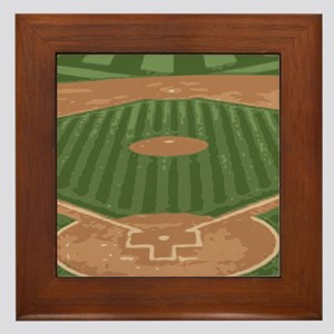 View From Home Plate Baseball Diamond Art Framed T