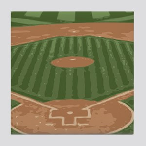 View From Home Plate Baseball Diamond Art Tile Coa