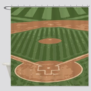 View From Home Plate Baseball Diamond Art Shower C