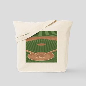View From Home Plate Baseball Diamond Art Tote Bag