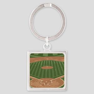 View From Home Plate Baseball Diamond Art Keychain