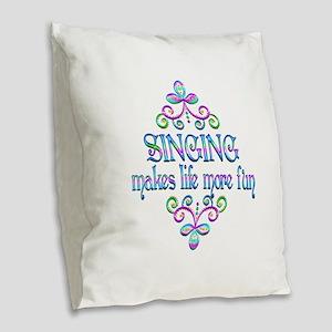 Singing Fun Burlap Throw Pillow