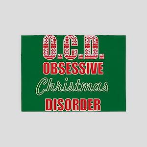 OCD obsessive christmas disorder 5'x7'Area Rug