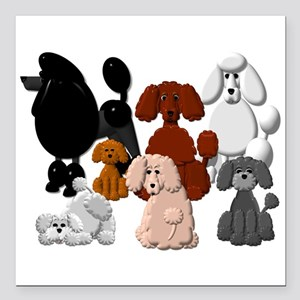 """Tiny Poodle Pack Collage Square Car Magnet 3"""""""