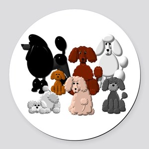 Tiny Poodle Pack Collage Round Car Magnet