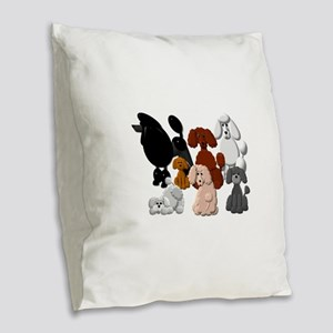 TINY POODLE PACK COLLAGE Burlap Throw Pillow