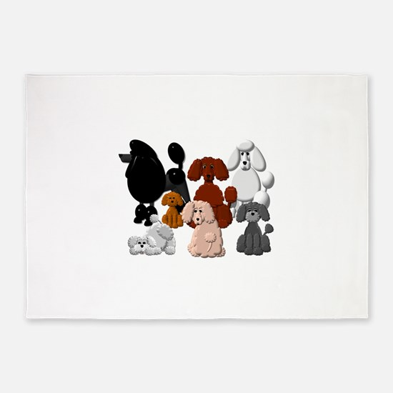 TINY POODLE PACK COLLAGE 5'x7'Area Rug