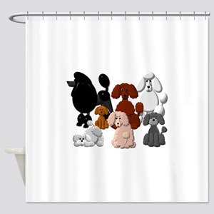 TINY POODLE PACK COLLAGE Shower Curtain