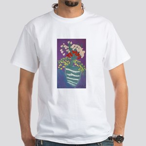 Flowers in Vase White T-Shirt