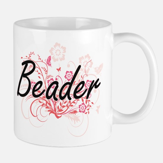 Beader Artistic Job Design with Flowers Mugs