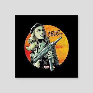 "Agent Carter Machine Gun Square Sticker 3"" x 3"""