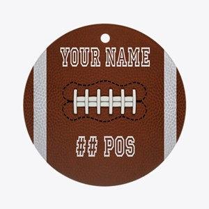 Personalized Football Boys Round Ornament