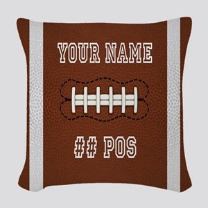 Personalized Football Boys Woven Throw Pillow