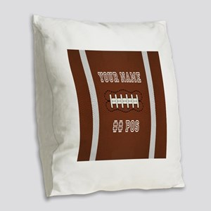 Personalized Football Boys Burlap Throw Pillow