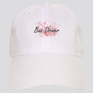 Bus Driver Artistic Job Design with Flowers Cap