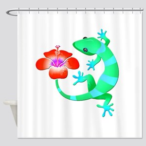 Blue And Green Jungle Lizard With Shower Curtain