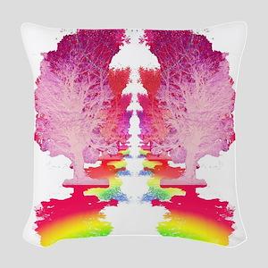 Rainbow Trees Trail Woven Throw Pillow