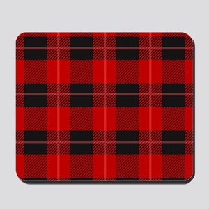 Red and black plaid geometric pattern Mousepad