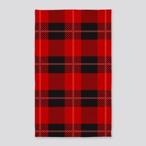 Red and black plaid geometric pattern Area Rug