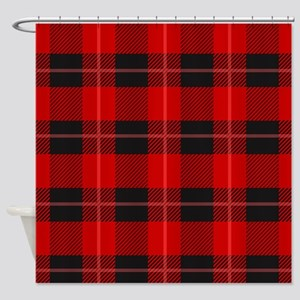 Red and black plaid geometric patt Shower Curtain