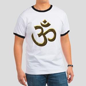 Golden Ohm & Buddha Quote Ringer Tshirt