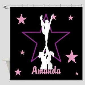Pink and Black Cheerleader Shower Curtain